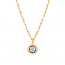 Aobei Pearl, 18K Gold Cubic Zirconia Evil Eye Pendant Necklace, Dainty Gold Cuban Chain Necklace, Adjustable Round Disc Coin Jewelry for Women Girls, ETS-S1098