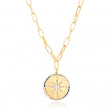 Aobei Pearl, 18K Gold Compass Necklace Cubic Zircoina Starbrust Necklace, Dainty Chunky Oval Chain Necklace, Adjustable Round Disc Coin Jewelry for Women Girls, ETS-S1102