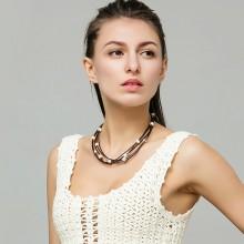 Multi strand pearl leather necklace, Dark brown leather cord pearl necklace, wrap necklace, ETS - S126