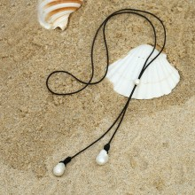 Aobei Pearl, Handmade Necklace with Freshwater Pearl and Genuine Leather Cord, Pearl Necklace, Pendant Necklace, ETS-S137