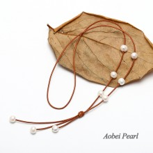 Aobei Pearl Handmade Necklace made of Freshwater Pearl and Genuine Leather Cord, Leather Pearl Necklace, ETS-S182