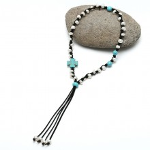 Pearl Leather Pendant Necklace with Turquoise and Genuine Leather and Freshwater Pearl ETS-S186