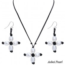 Aobei Pearl Handmade Jewelry Set made of Freshwater Pearl, Wax Rope and 925 String Silver, Pearl Necklace, Pearl Bracelet, ETS-S196