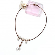 Aobei Pearl Handmade Necklace with Freshwater Pearl and Genuine Leather Cord, Pearl Necklace, ETS-S255