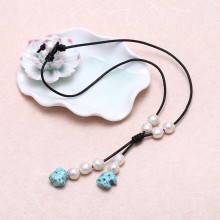 Freshwater 11-12mm of 2.5mm hole nucleated pearls necklace women turquoise leather necklace AA round beads,ETS-S270