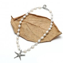 Aobei Pearl - Sea star pendant necklace, pearl beaded necklace with sea star pendant, sea star necklace, ETS - S307