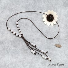 Aobei Pearl - Handmade Necklace made of Freshwater Pearl and Genuine Leather Cord, Tassel Pearl Necklace, Leather Pearl Necklace, ETS-S313
