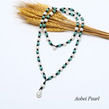 Aobei Pearl, Handmade Necklace made of 10-11 mm White Potato Pearl, 13-15 mm White Keshi Pearl and 8 mm Round Turquoise, Pearl Necklace, Turquoise Necklace, ETS-S331