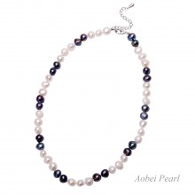Aobei Pearl Handmade Necklace made of Baroque Freshwater Pearls and Alloy Clasp, Pearl Choker Necklace, Adjustable Necklace, Beaded Necklace, ETS-S346