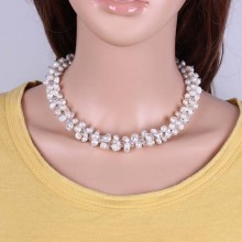 White baroque pearl with crystal beads choker necklace statement necklace for wedding