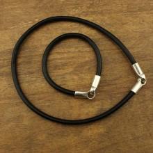 Black leather choker and bracelet sets, choker necklace , leather bracelet ETS-S364