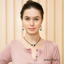 Aobei Pearl Handmade Necklace made of Freshwater Pearl, Turquoise and Genuine Leather Cord, Pearl Choker Necklace, ETS-S396