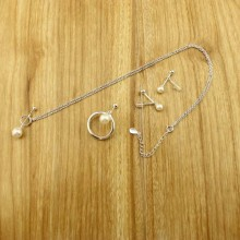 925 sterling silver necklace and earrings and ring sets,freshwater pearls necklace and earring,Genuine AAA Round Pearl,ETS-S398