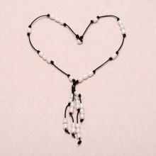 Aobei Pearl - Pearl Leather Tassel Choker Necklace, Pearl Necklace, Pearl on Leather, Choker Necklace, ETS - S 442