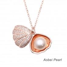 Aobei Pearl, Handmade Shell & Pearl Pendant Necklace, Pearl Necklace, Pearl Choker Necklace, ETS-S447