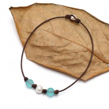 Aobei Pearl - Handmade Leather & Pearl Choker, Simple & Beautiful Necklace, ETS-S456