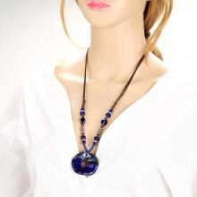 Ceramics pendant necklace, Braided wax cord pendant, handmade necklace, wrap necklace, ETS - S462