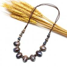 Boho ceramics beaded necklace, gypsy necklace, ceramics necklace, ETS - S465
