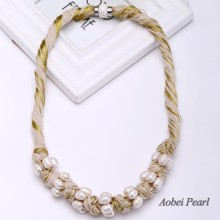 Aobei Pearl Handmade Necklace made of Freshwater Pearl and Cotton Thread, Bib Necklace, Pearl Necklace, ETS-S477