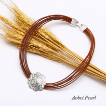 Aobei Pearl Handmade Necklace made of Genuine Leather Cord and Flower Alloy Accessory, Bib Necklace, Strands Necklace, Wrap Necklace, ETS-S480