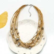 Aobei Pearl Handmade Necklace with Freshwater Pearl and Genuine Leather Cord, Pearl Necklace, ETS-S496