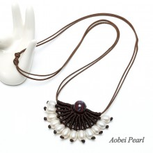 Aobei Pearl Handwoven Necklace made of Cultured Freshwater Pearl, Wax Rope and Natural Ceramics Beads, Pearl Choker Necklace for Girls, ETS-S505