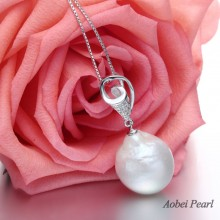 Aobei Pearl, Handmade Necklace with 925 Sterling Silver Accessory & Big Keshi Freshwater Pearl Pendant Necklace for Women With 18 inches Chain, Silver Necklace, Pearl Necklace, ETS-S518