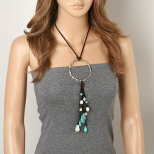 ETS-S526 9-10&11-12&13-14 MM Potato&Rice&Keshi White Pearl Turquoise Leather Necklace