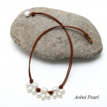 Aobei Pearl - Handmade Necklace with Rice Pearl in Plum Blossom Shape or Cat Claw Shape, Pearl Necklace, ETS-S531