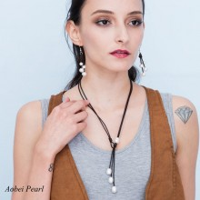 Aobei Pearl - Handmade Necklace made of 11-12 mm Rice White Freshwater Pearl and Genuine Leather Cord, Leather Pearl Necklace, ETS-S533