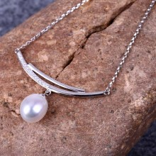 Aobei Pearl, Handmade Freshwater Pearl Necklace with Sterling Silver Diamond Accessory for Girls, Pearl Necklace, ETS-S581
