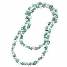 Aobei Pearl - Handmade Necklace with Freshwater Pearl and Natural Crystal or Natural Gravel, ETS-S582