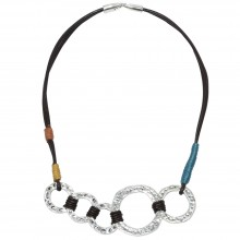 Aobei Pearl, Hammered Alloy Rings and Genuine Leather Necklace, Personal Necklace, ETS-S599
