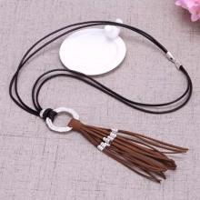 Aobei Pearl - Long Korean velvet tassel leather cord necklace, tassel necklace, long necklace, ETS - S603