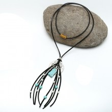 Aobei Pearl, Handmade Necklace with Korean Velvet Tassel, Freshwater Pearl and Turquoise, Tassel Necklace, ETS-S610
