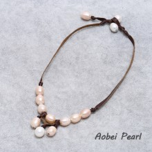 Aobei Pearl, Handmade Necklace made of Freshwater Pearl & Flat Leather Cord, Pearl Pendant Necklace, Leather Pearl Necklace, ETS-S622