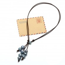 Aobei Pearl - Handmade Necklace made of Freshwater Pearl and Genuine Leather Cord, Pearl Necklace, Leather Necklace, Tassel Necklace, ETS-S630