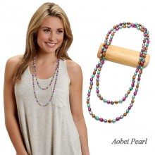 Aobei Pearl Handmade Necklace made of Genuine Colorful Freshwater Pearl, Knotted Necklace, Long Beaded Necklace, ETS-S644