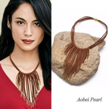 Aobei Pearl - Handmade Necklace made of Korean Velvet and Alloy Accessory, Suede Fringe Necklace, ETS-S649