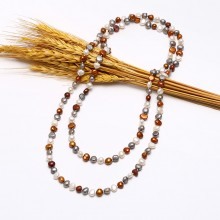 Freshwater Beads Necklace for Women 8-9mm Baroque 47.2 inch length ETS-S653