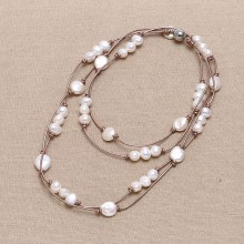 Aobei Pearl, Handmade Necklace with Freshwater Pearl and Genuine Leather Cord, Pearl Necklace, ETS-S658