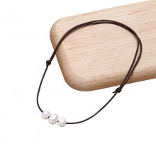 Aobei Pearl - Adjustable Pearl Leather Necklace with 11-12 mm and 9-10 mm Potato Pearl ETS-S661
