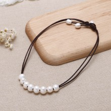 Aobei Pearl - ETS-S662 11-12mm Potato Pearl 9-10mm Rice Pearl Leather Necklaces new design
