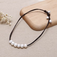 Aobei Pearl - ETS-S664 11-12mm &9-10mm rice freshwater white pearl leather handmade fashion necklace