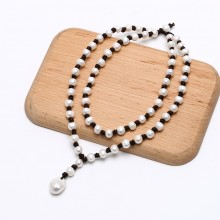 Handcraft Pearl Leather Necklace Pendant with 14-15mm Baroque and 9-10mm Potato Pearl ETS-S672