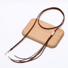 ETS-S674 12-13mmnatural pearls Korean velvet wrap necklaces long necklaces
