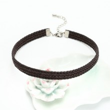 ETS-S676 Woven Wax Rope choker necklace Lobster clasp necklace