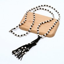 Pearl Leather Pendant Necklace with 10-11mm Baroque Freshwater Pearl for Women ETS-S684