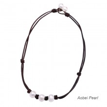 Aobei Pearl - Handmade Necklace made of Freshwater Pearl and Genuine Leather Cord, Leather Pearl Necklace, Adjustable Choker Necklace, ETS-S690