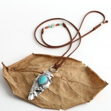 Aobei Pearl Handmade necklace with Korean Velvet , Alloy and Turquoise, ETS-S718